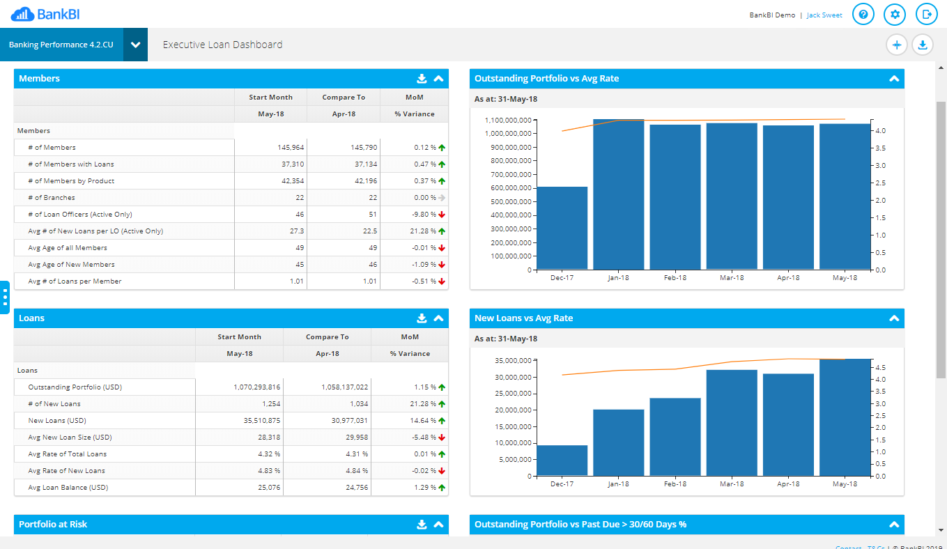executive loan dashboard sc
